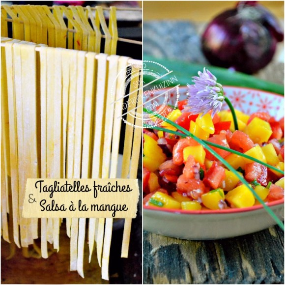 Tagliatelles fraîches et salsa mangue servis avec l'omble chevalier cuisson plancha