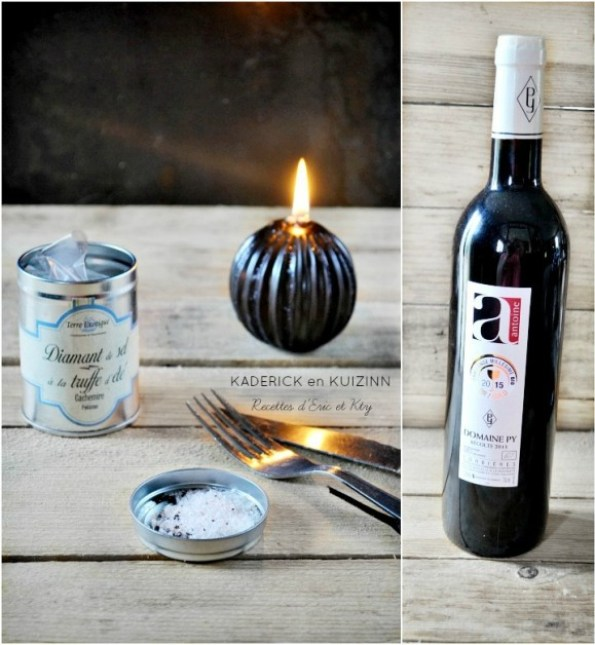 Bouteille de vin Domaine PY et diamant de sel à la truffe d'été