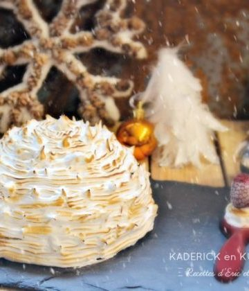 Dome buche enneigé crème chocolat blanc insert framboises