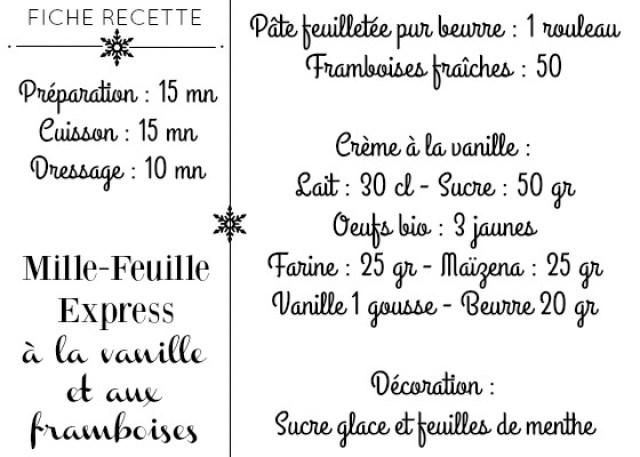 Fiche recette mille feuille framboises fraîches crème vanille