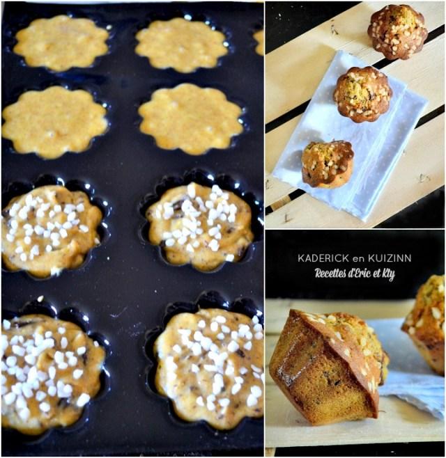 Madeleine muffins vanille et chocolat cuits dans le moule demarle