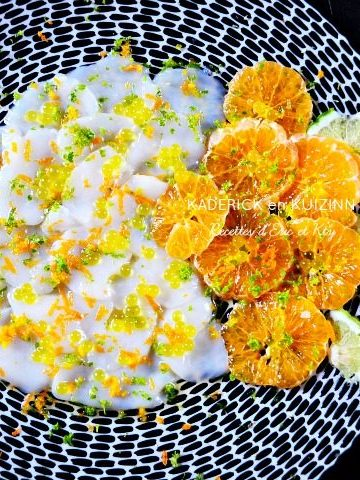 Carpaccio st jacques clémentines corses vinaigre agrumes perles citron poivre