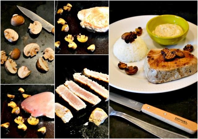 Cuisson plancha thon grille champignons Paris