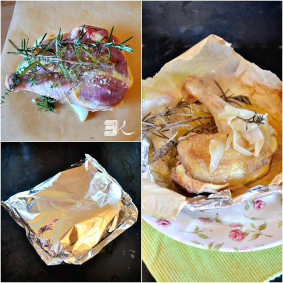 Preparation papillote cuisse de poulet jus au pastis