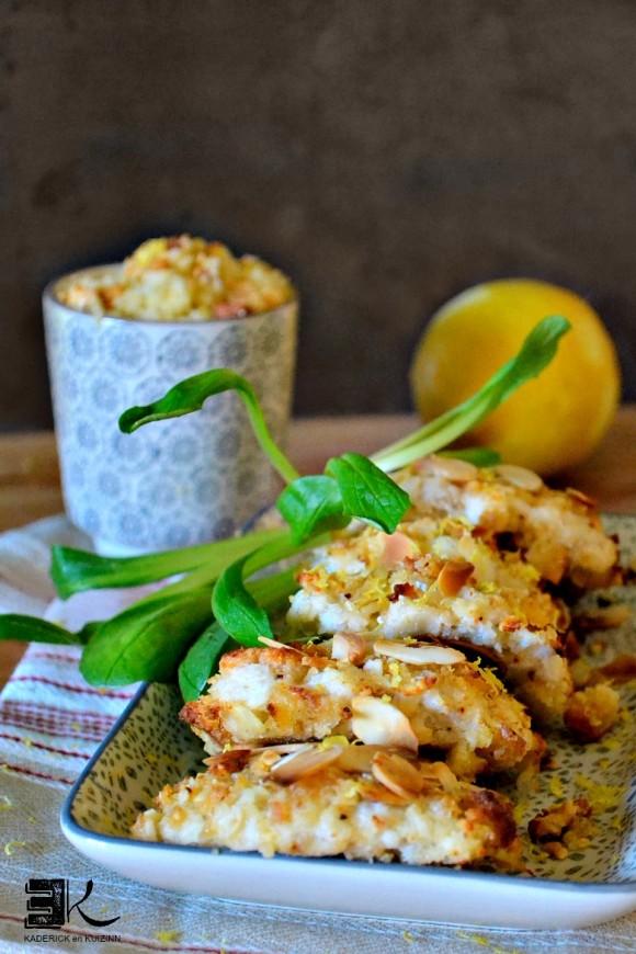 Croquettes poisson crumble fromage amandes effilées - Kaderick