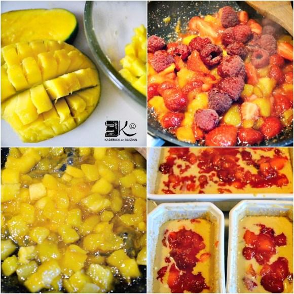 Decoupage cuisson poelee mangue fraises framboises