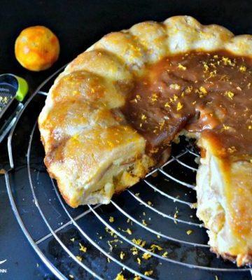 Gâteau pudding pommes et caramel de clémentine