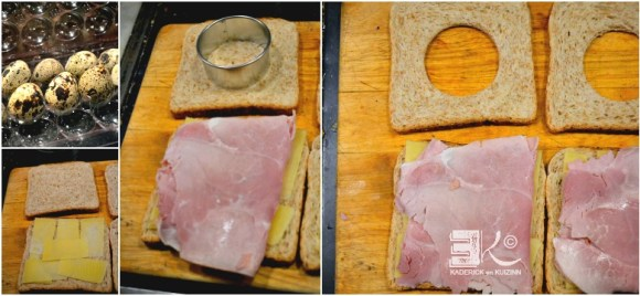 Preparation croque madame oeufs caille jambon fromage