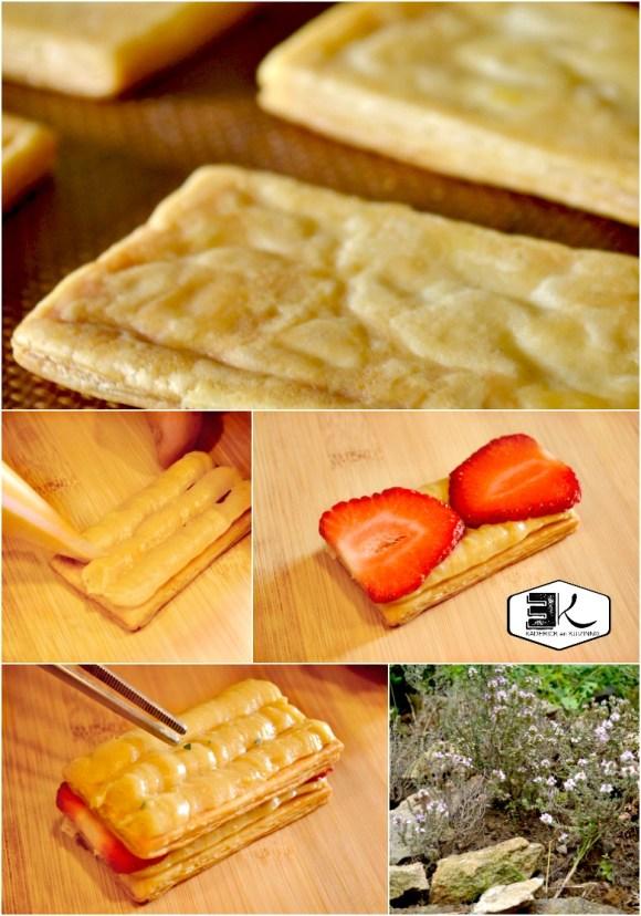 Cuisson millefeuilles à la crème pâtissière vanille thym fraises - Kaderick