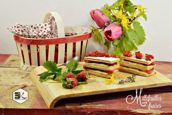 Millefeuilles fraises crème vanille infusee thym citron vert