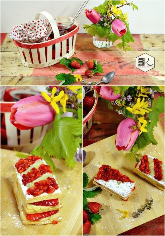 Millefeuilles fraises crème vanille thym zestes citron vert - Kaderick