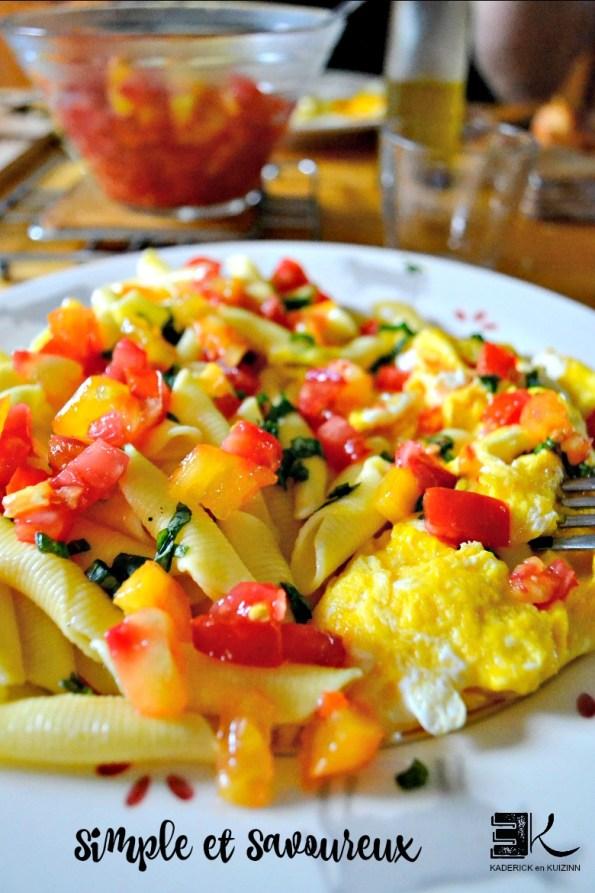 Recette pâtes trofy oeufs brouilles basilic dès tomates crues - Kaderick