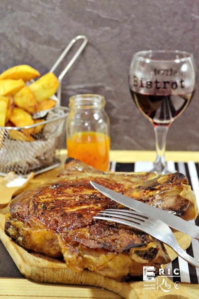 Côte de veau grillee plancha sauce orange pimentée - Kaderick en Kuizinn