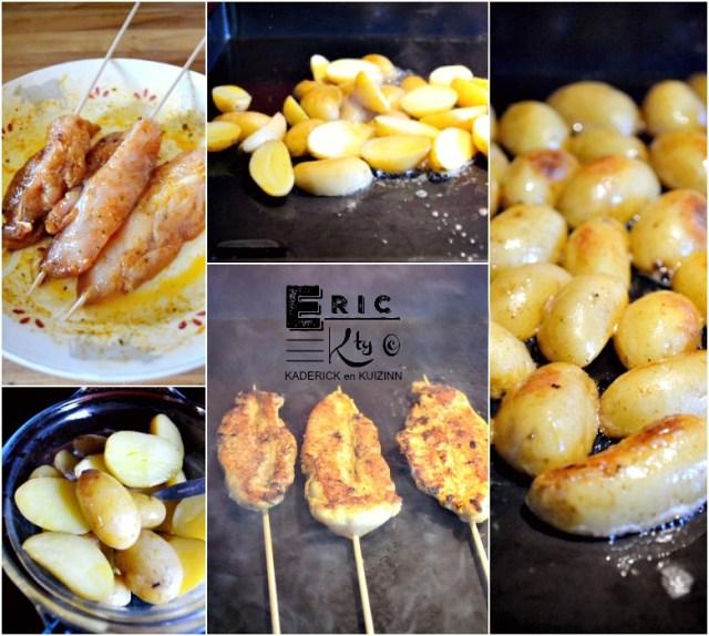 Cuisson plancha aiguillettes de poulet potatoes mexicaines - Kaderick