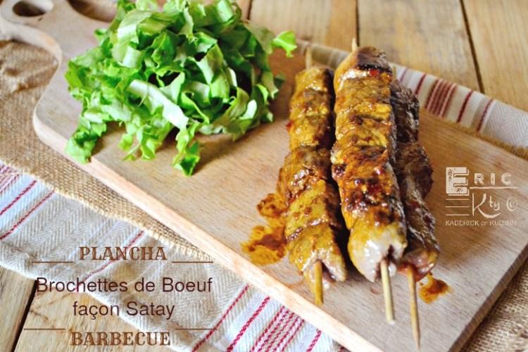 Brochettes de boeuf sauce satay à la plancha ou au barbecue