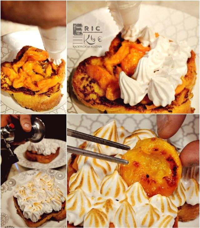 Montage recette brioche perdue meringuée, un dessert recette plancha