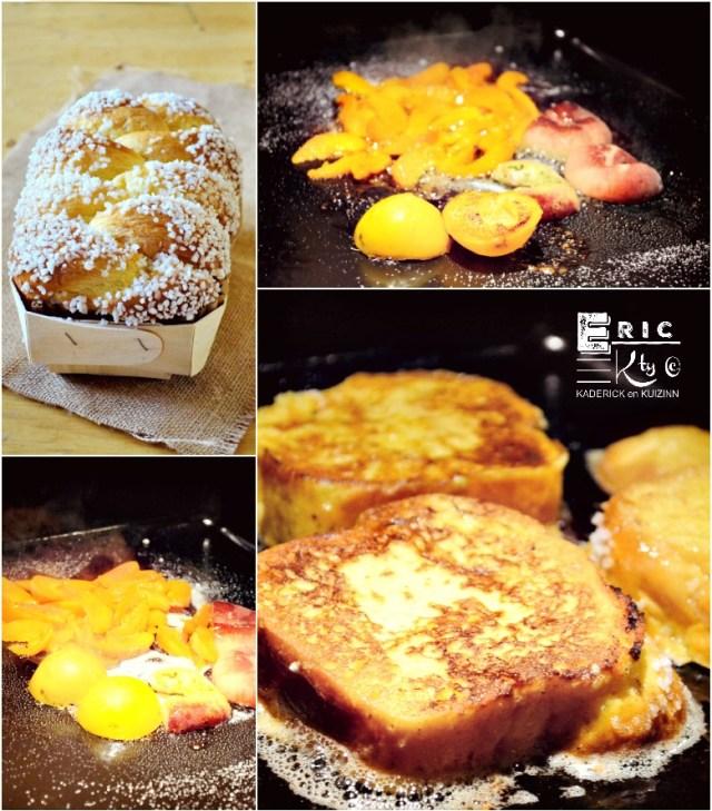Plancha de recette brioche perdue aux fruits caramelisés