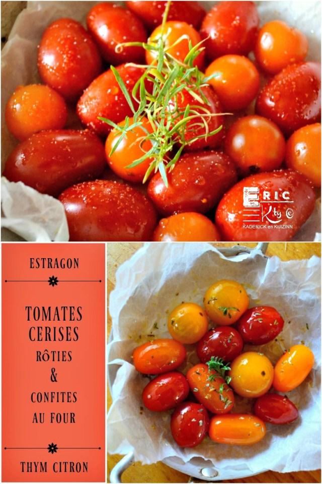 Tomates cerises huile d'olive estragon ou thym citron