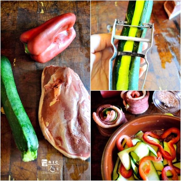 Ingredients recette tournedos magret courgette poivron - Kaderick en Kuizinn