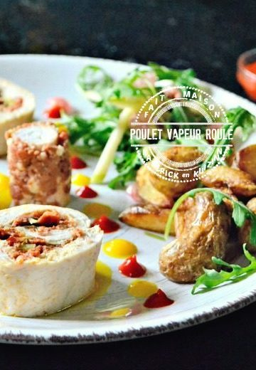Poulet vapeur roulé et farci au chorizo, légumes, feta | Kaderick en Kuizinn