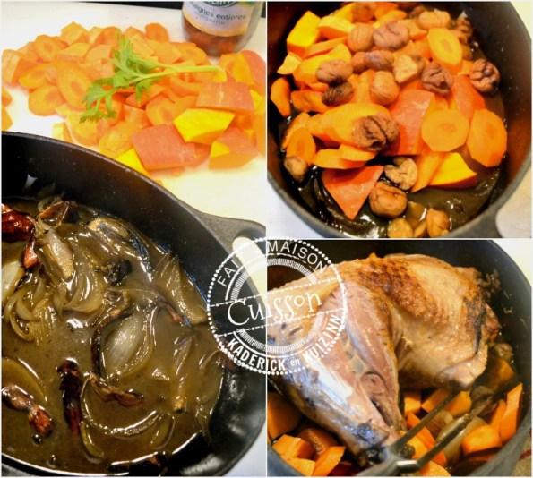cuisson cuisse de dinde cocotte-au-four-potiron-carottes-marrons