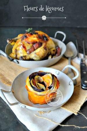 Fleurs de légumes et coquelet rôti farci au foie gras