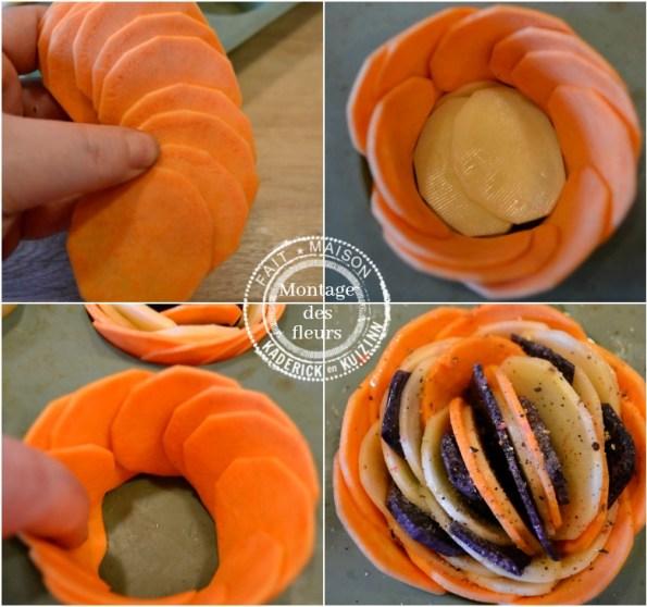 Montage de fleurs en chips de pommes de terre, patate douce et vitelotte
