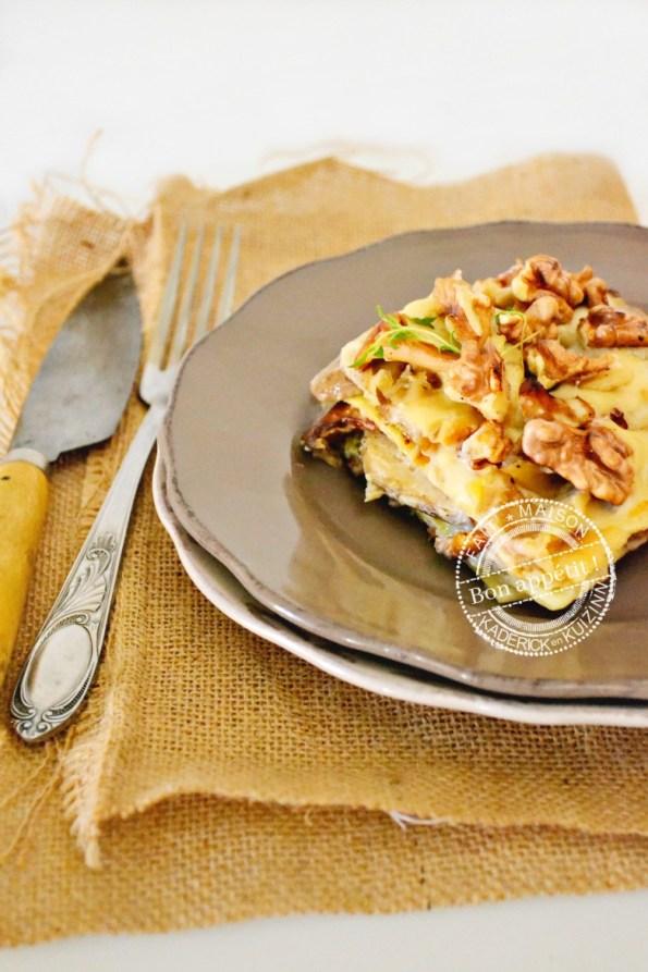 portion lasagne fraîche cèpes, girolles et noix