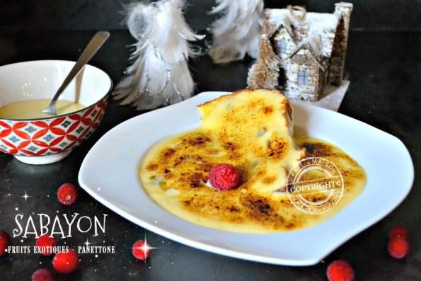 Recette sabayon aux fruits exotiques et panettone de Noël