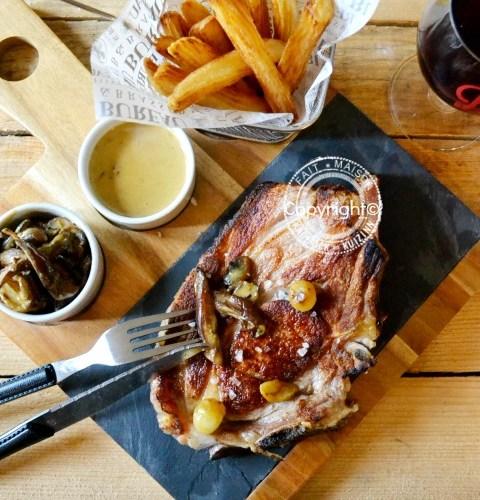 Image a la une - côte de veau plancha sauce champignon safran moutarde