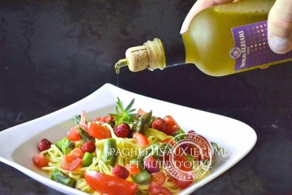 Spaghetti frais aux légumes et huile d'olive Alziari