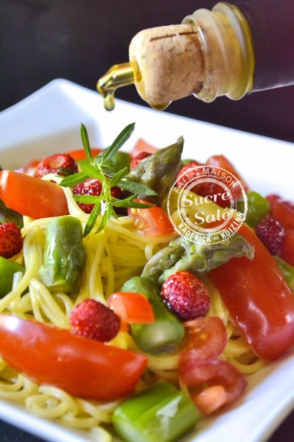 Spaghetti frais aux légumes fraises et huile d'olive Alziari