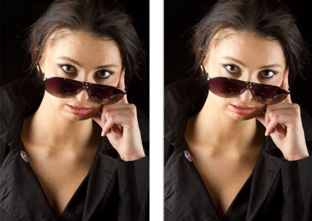 Zdjęcie z lewej strony - przed retuszem oczu, zdjęcie z prawej strony - po retuszu oczu