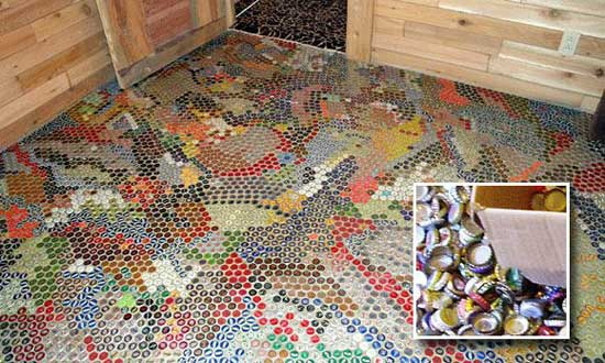 creative inexpensive flooring ideas, Bottle-Cap-mounted-Flooring, creative inexpensive flooring ideas,