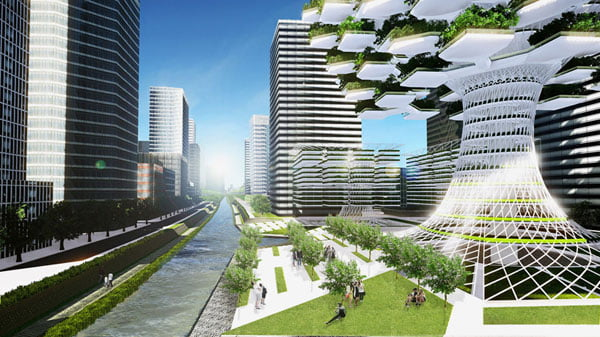 vertical urban skyfarm,