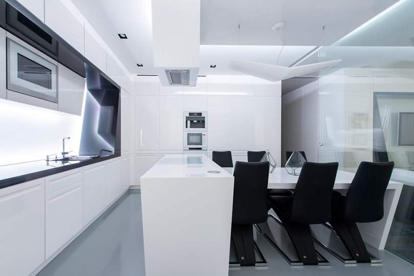 Modern Interior Design in Black and White Geometry by Geometrix Design, Moscow (3)