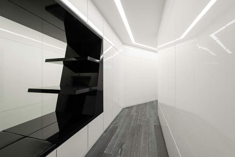 Modern Interior Design in Black and White Geometry by Geometrix Design, Moscow (7)