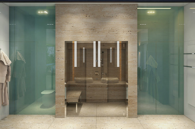 A divine bathtub with There is a wall that separates the room in two areas,