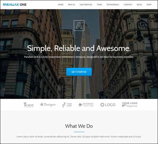 PARALLAX ONE FREE WORDPRESS THEME, Free Responsive WordPress Themes,