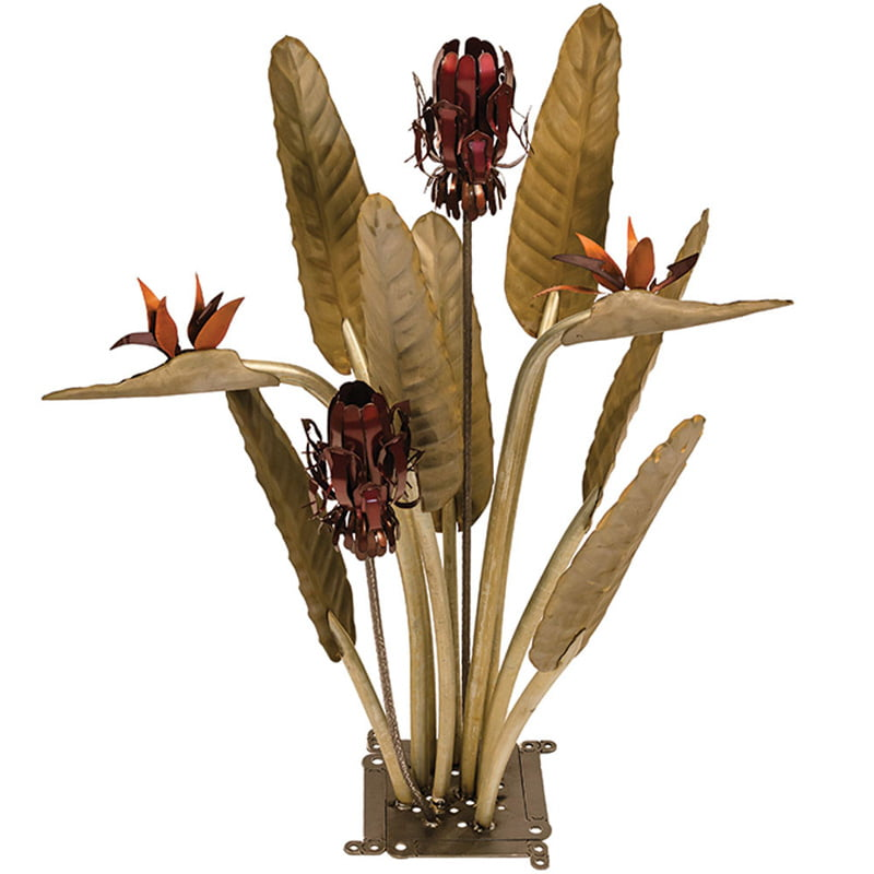 Birds of Paradise Statue with two garden lamps 1