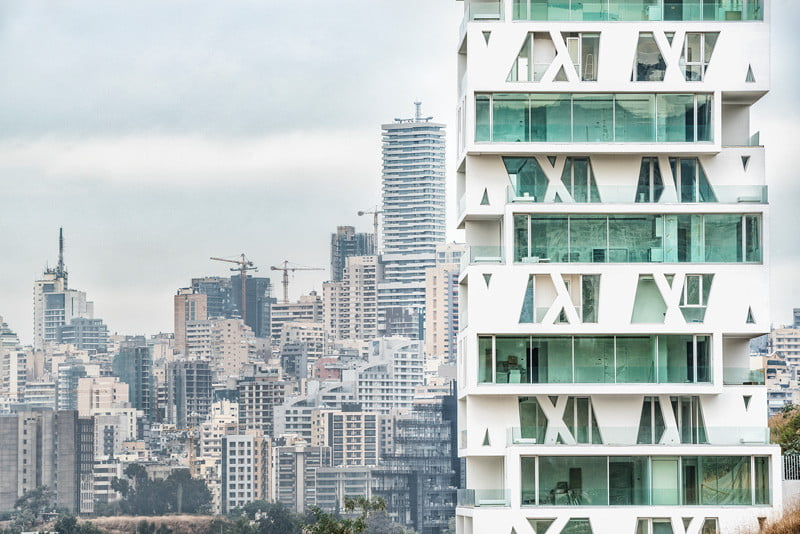 Residential Tower Elevation with the cube Stacked Box By Orange Architects in Beirut, Lebanon (4)