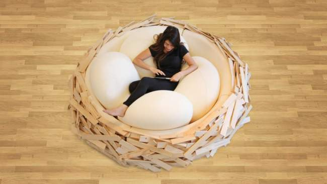 Unique Bed Design Idea from Bird Nest in Creative Interiors