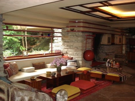 mid century modern furniture of Fallingwater by Frank Lloyd Wright