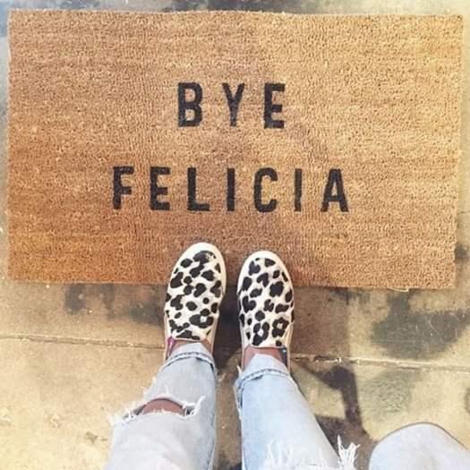 bye bye door mat message