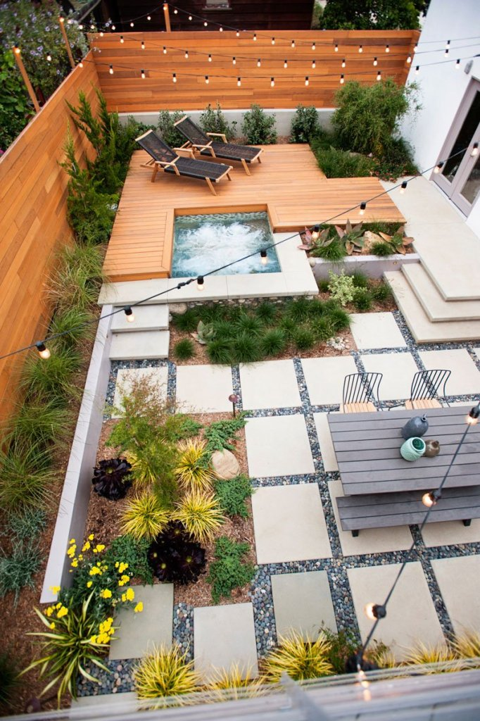 hot tub, family friends for backyard landscaping ideas