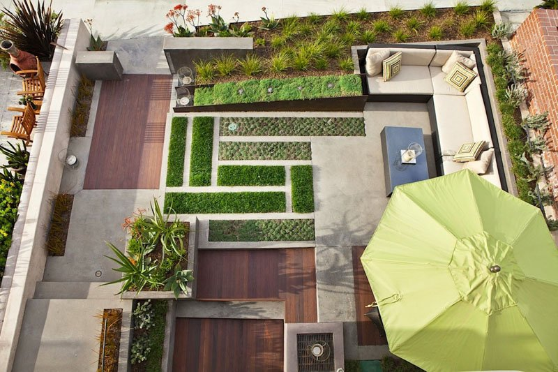 modern clean lines with greenery in natural outdoor space backyard landscaping ideas