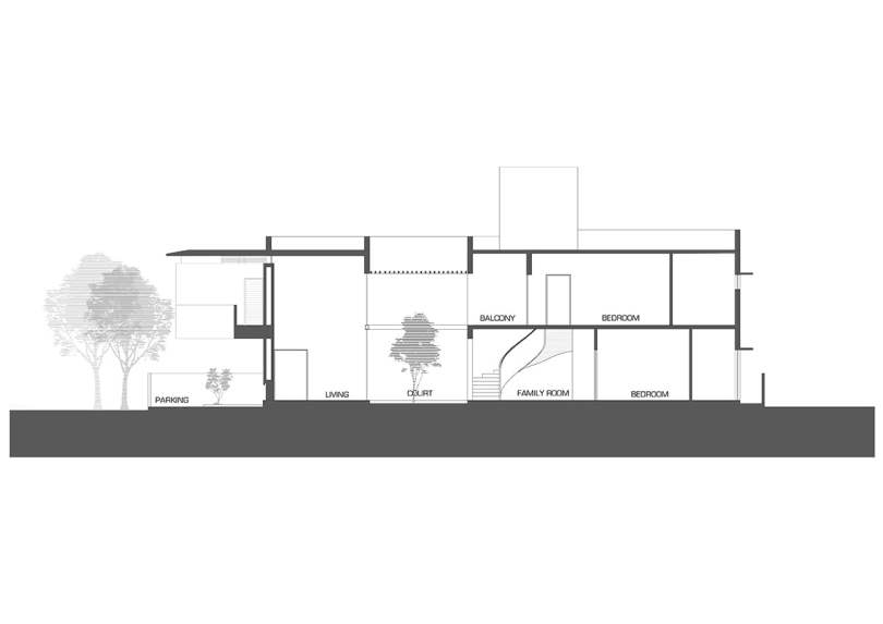 section through private outdoor courtyard in indian house design