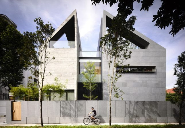 Sky Bridge Concrete House by ONG&ONG