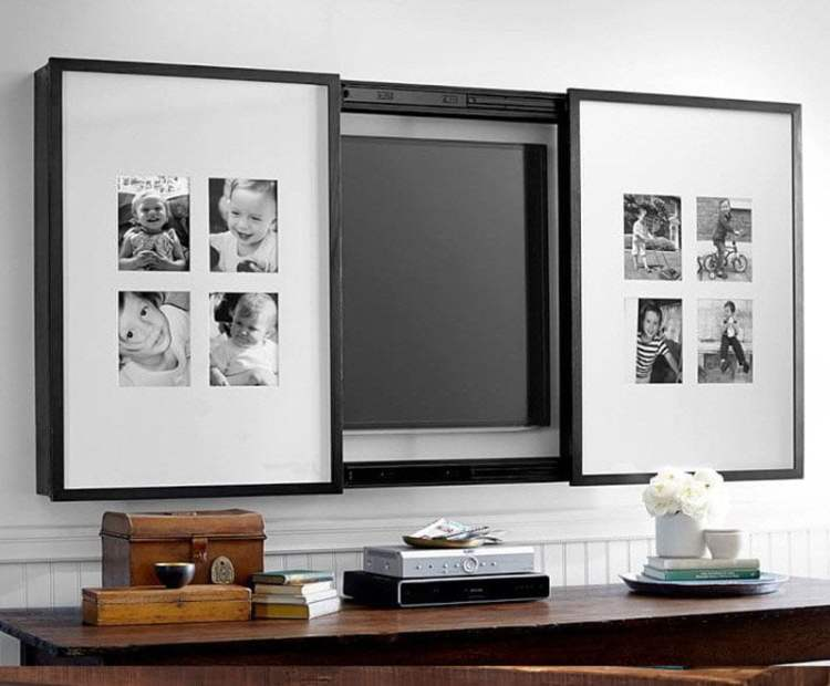 tv shelf design behind picture frames
