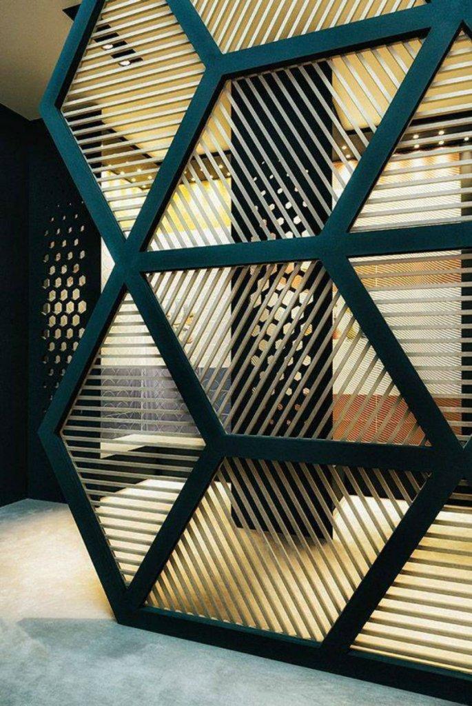 wooden jali partition,
